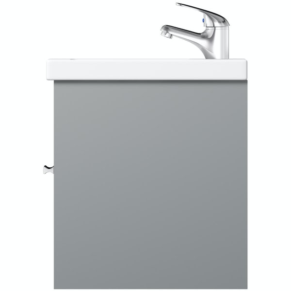 Clarity satin grey wall hung vanity unit and basin 600mm