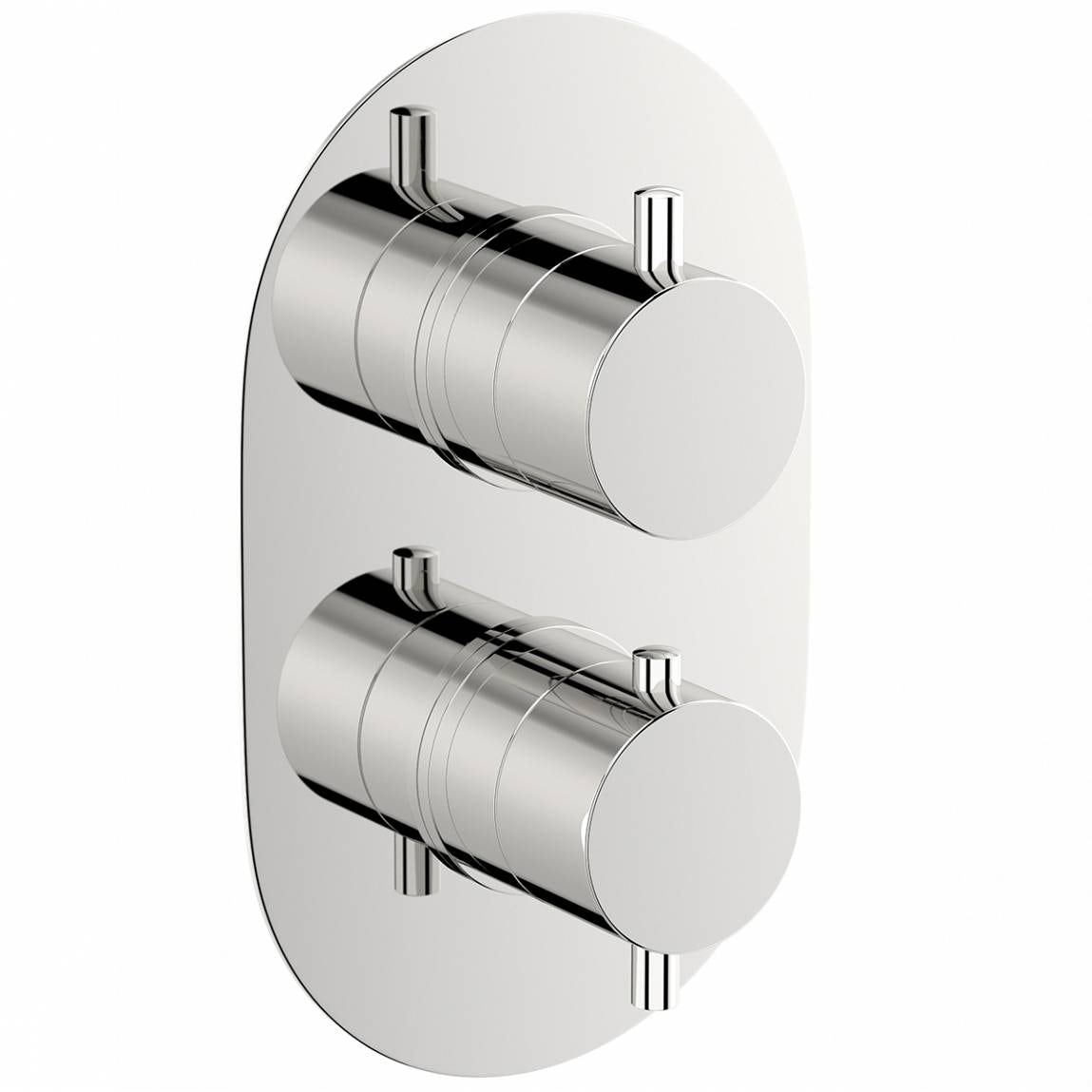 Mode Matrix oval twin thermostatic shower valve with diverter offer pack