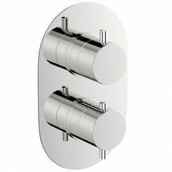 Matrix oval twin thermostatic shower valve with diverter