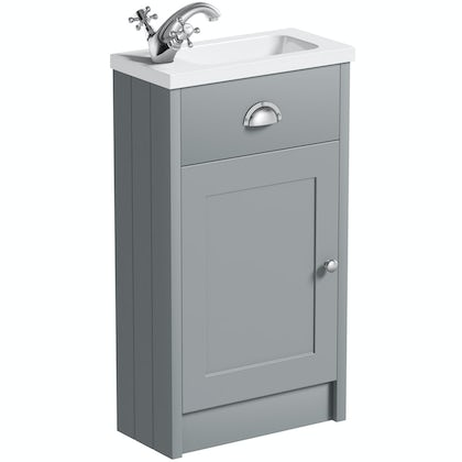 The Bath Co. Dulwich stone grey cloakroom vanity with basin 450mm