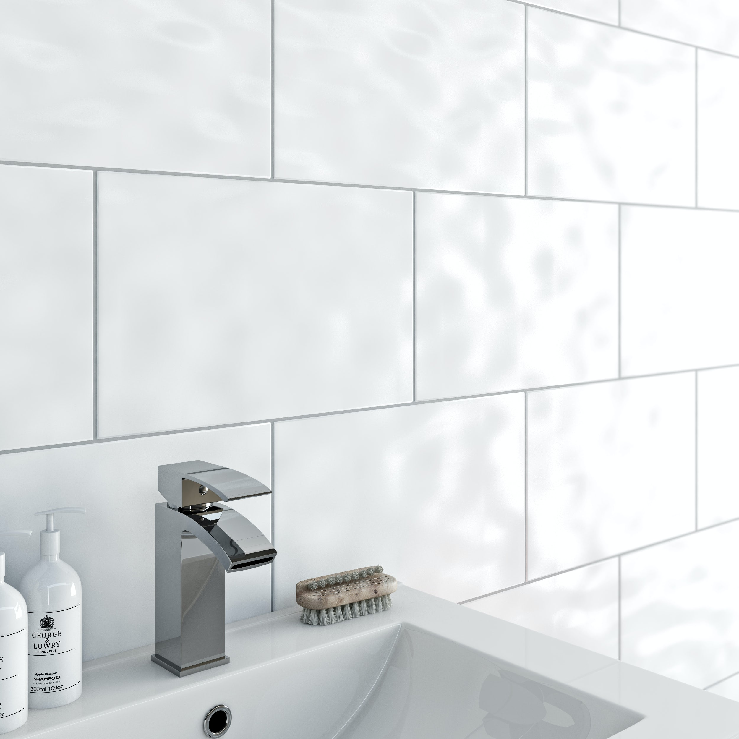 simplicity bumpy white gloss tile 250mm x 400mm