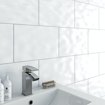 Clarity bumpy white gloss tile 250mm x 400mm