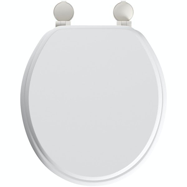 Celmac Wirquin wooden toilet seat with stainless bar hinge