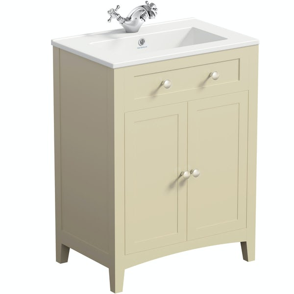 Camberley ivory low level furniture suite with straight bath 1700 x 700mm