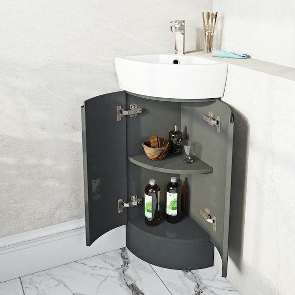 Mode Harrison slate compact  corner vanity unit and ceramic basin