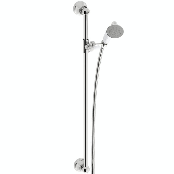 The Bath Co. Traditional thermostatic triple diverter shower valve with body jets and shower rail set