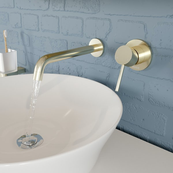 Mode Spencer round wall mounted gold basin mixer tap