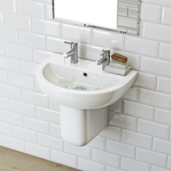Elena 2 tap hole semi pedestal basin 550mm