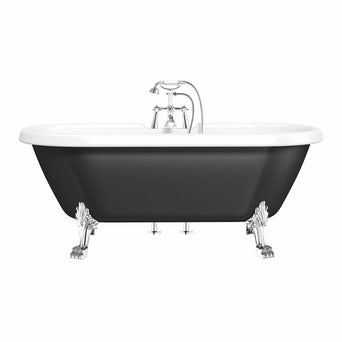 Shakespeare Black Roll Top Bath with Dragon Feet