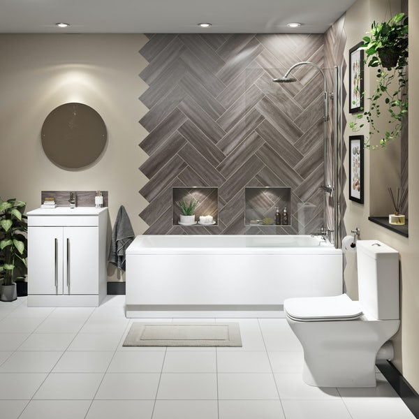 Orchard Derwent complete bathroom suite with straight shower bath, shower and taps