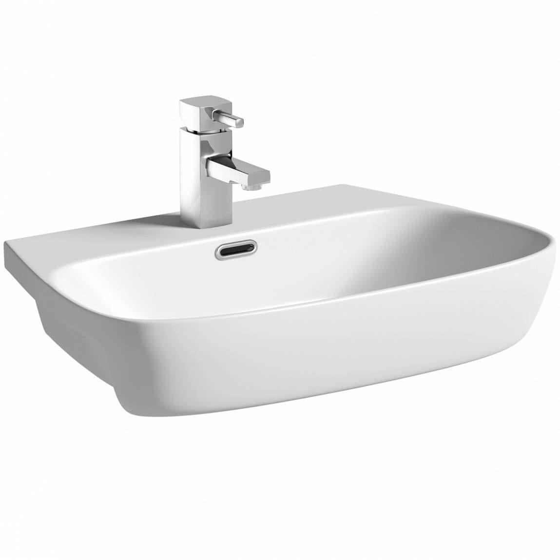 Foster 1 tap hole semi recessed countertop basin 600mm
