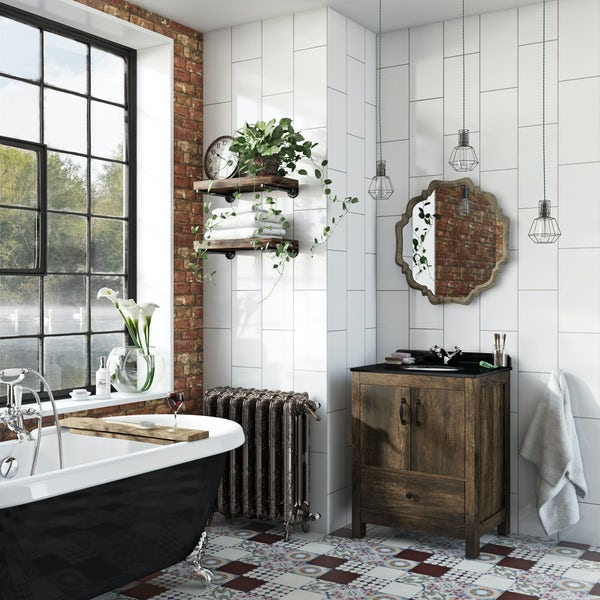 The Bath Co. Dalston vanity unit and black marble basin 650mm
