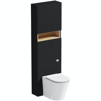 Mode Tate anthracite and oak tall toilet unit with Mode Arte toilet