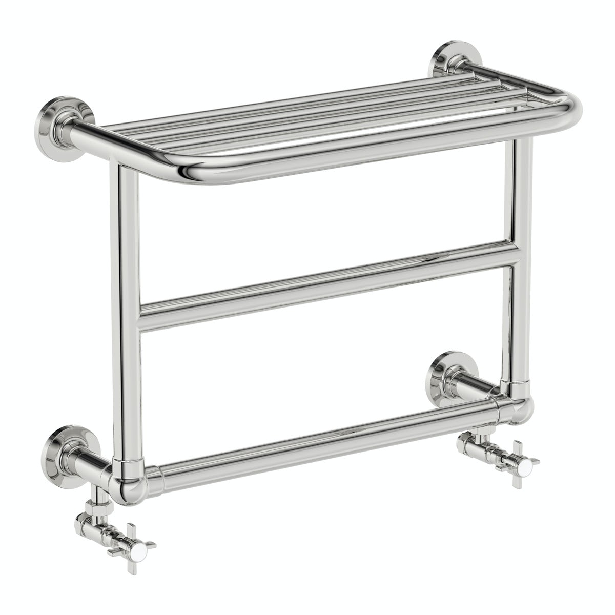 The Bath Co. Camberley wall mounted traditional heated towel rail 450 x 600 offer pack