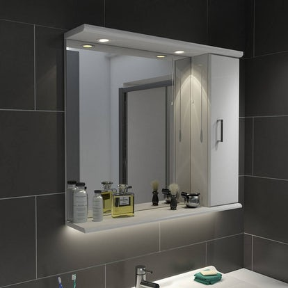 Sienna white 85 mirror with lights for Bathroom cabinets victoria plumb
