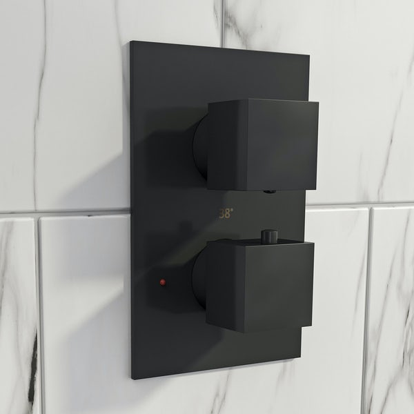 Mode Spencer square thermostatic twin valve matt black shower set