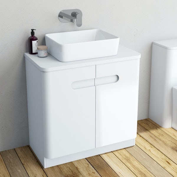 Mode Ellis white vanity door unit and countertop 800mm