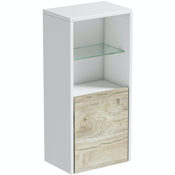 Mode Burton white & rustic oak wall storage unit 330mm