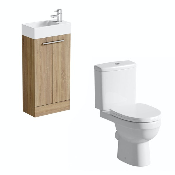 Clarity Compact oak cloakroom suite with contemporary close coupled toilet