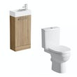 Compact oak floor standing unit with Eden close coupled toilet