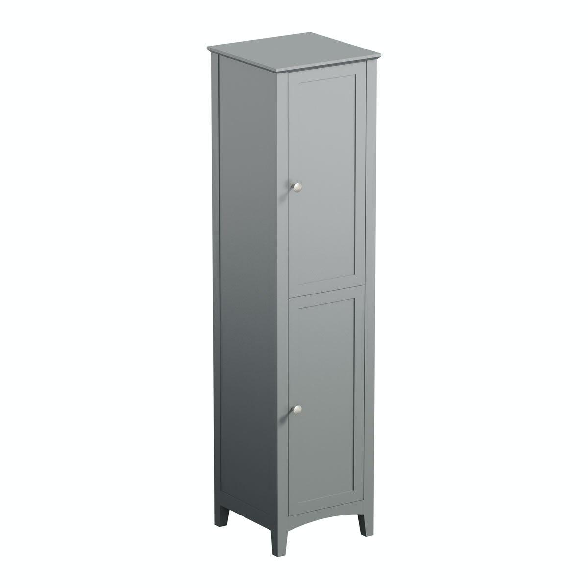 The bath co camberley satin grey tall storage unit for Tall bathroom shelf unit