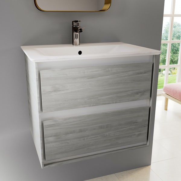 Ideal Standard Concept Air wood light grey and matt white wall hung vanity unit and basin 600mm