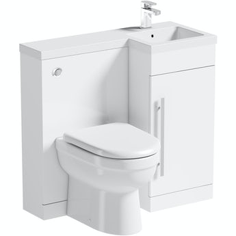Orchard MySpace white right handed unit with Eden back to wall toilet