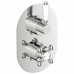 Traditional oval twin thermostatic shower valve with diverter