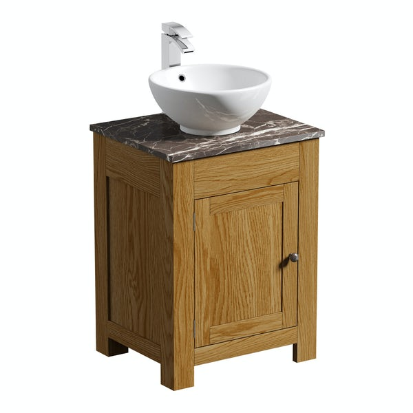 The Bath Co. Chester oak washstand with brown marble top and Eden basin 600mm