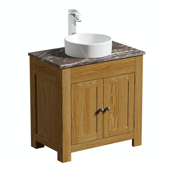 The Bath Co. Chester oak washstand with brown marble top and Calhoun basin 800mm