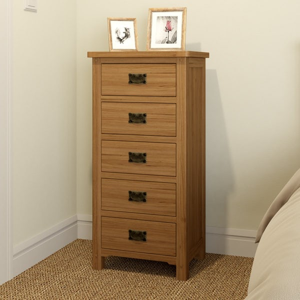 Rome Oak 5 Drawer Tall Chest with Mirror