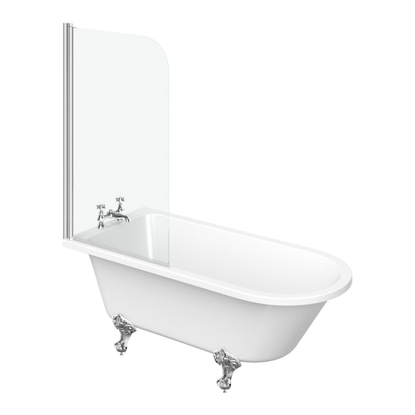 The Bath Co. Dulwich oak bathroom suite with freestanding shower bath