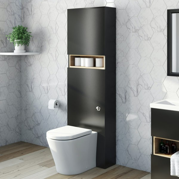 Tate anthracite and oak toilet with mode arte seat