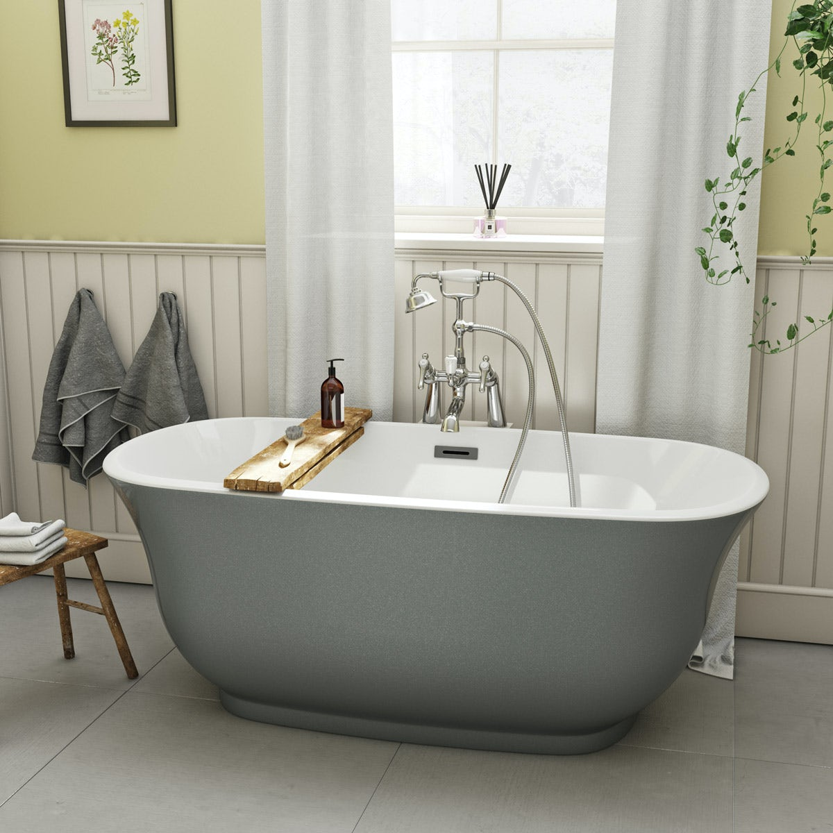 The bath co camberley storm coloured traditional for Coloured free standing bath
