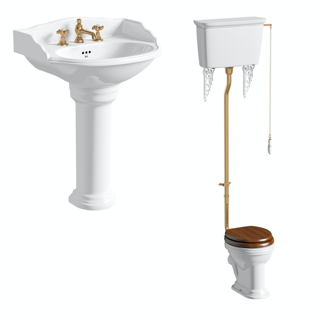 Belle de Louvain Bellini high level toilet and full pedestal suite with incalux fittings and taps