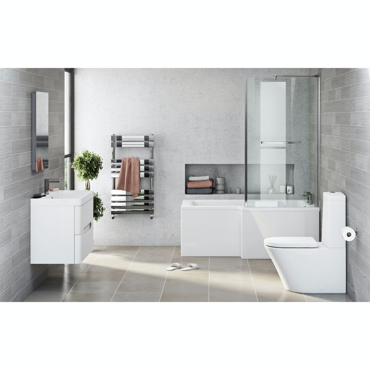 Mode Tate right hand shower bath 1700 x 850 suite with white wall hung unit 800mm