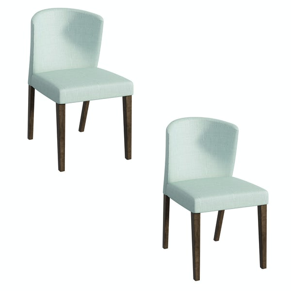Hudson walnut and light cyan pair of dining chairs