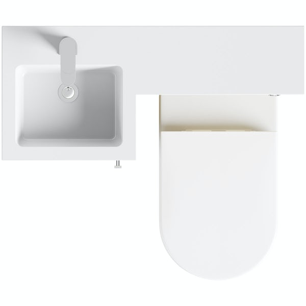 Orchard Myspace oak left handed unit with contemporary toilet and seat