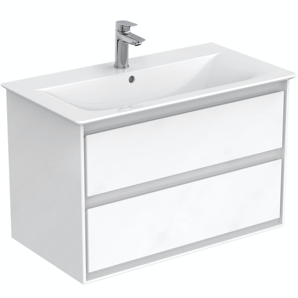 Ideal Standard Concept Air white furniture and freestanding bath suite 1700 x 790