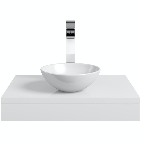 Mode Orion white countertop shelf with Tahoe basin, tap and waste