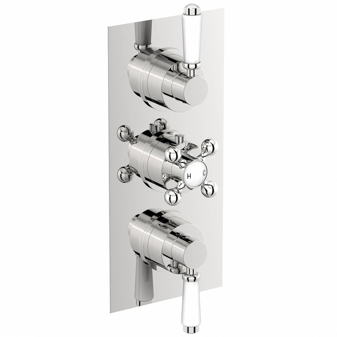 The Bath Co. Traditional square triple thermostatic shower valve with diverter