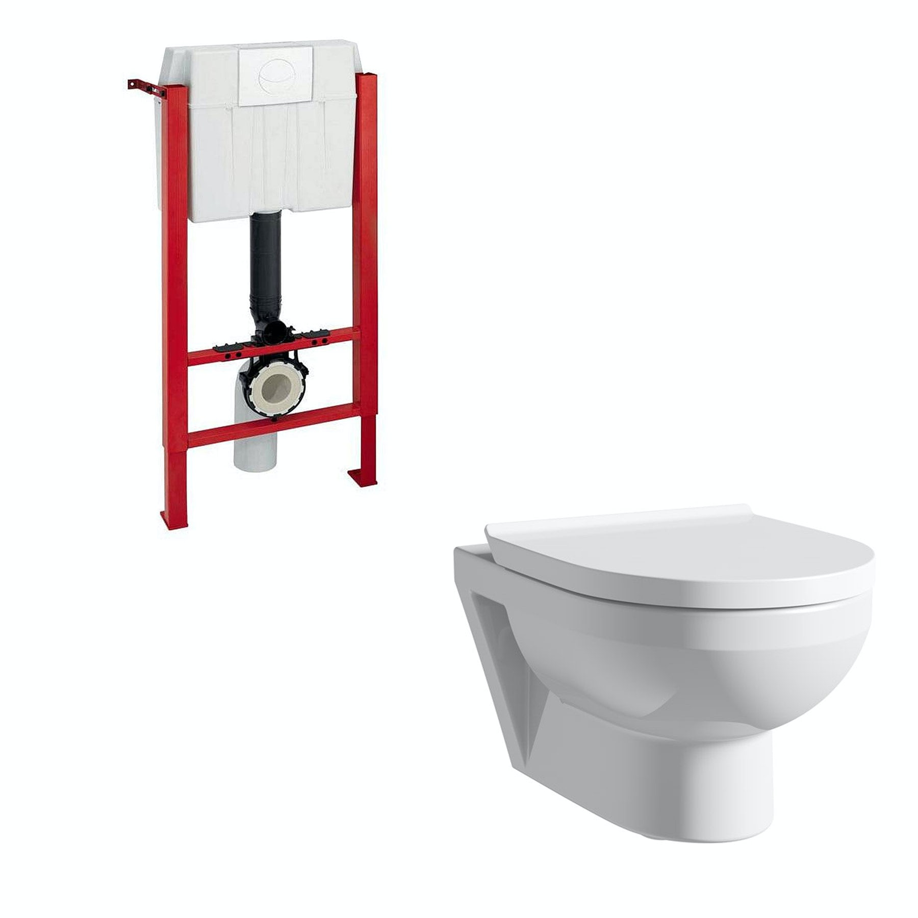 Duravit Durastyle Basic rimless wall hung toilet with soft close seat, wall mounting frame and chrome push plate