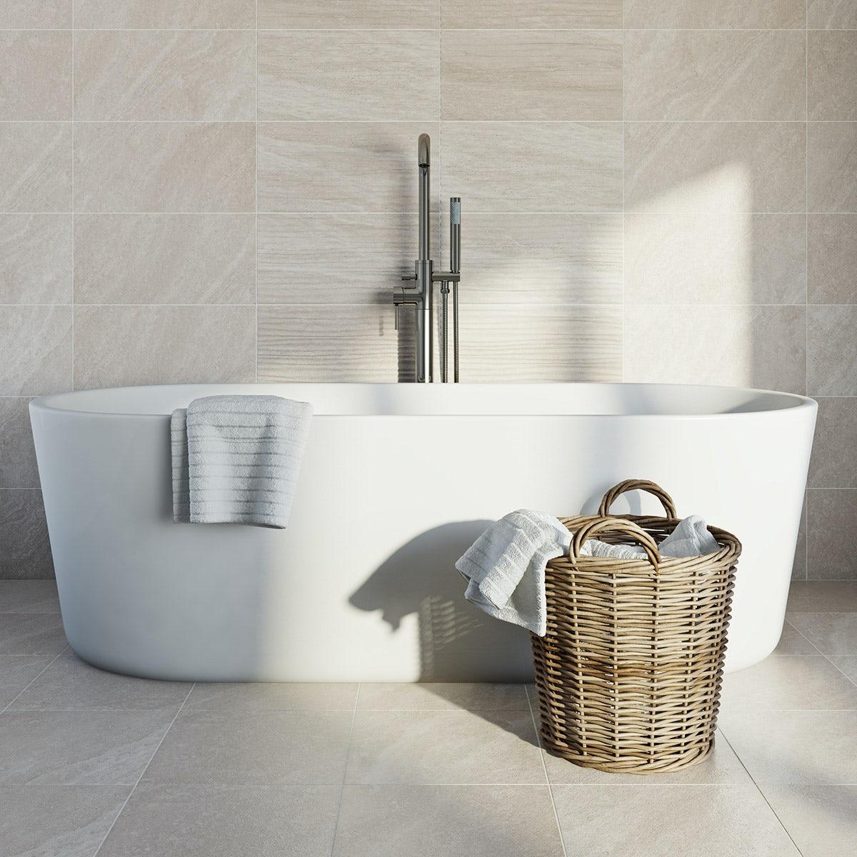 British Ceramic Tile Pumice grey wave matt tile 248mm x 498mm