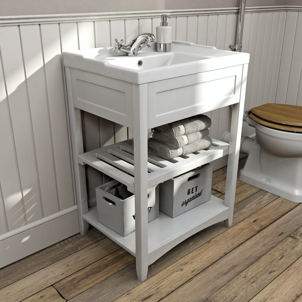 The Bath Co. Camberley satin white washstand with traditional basin 600mm