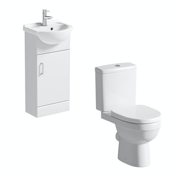 Eden white cloakroom unit with close coupled toilet