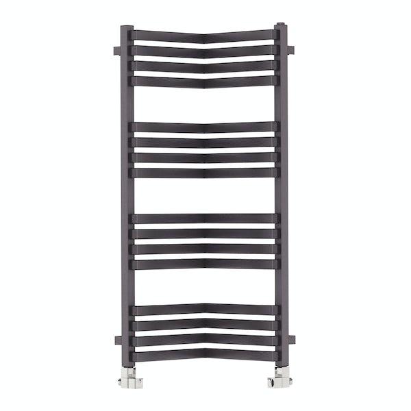 Incorner modern grey heated towel rail 1005 x 350