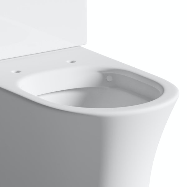 Mode Hardy rimless close coupled toilet inc soft close seat with pan connector