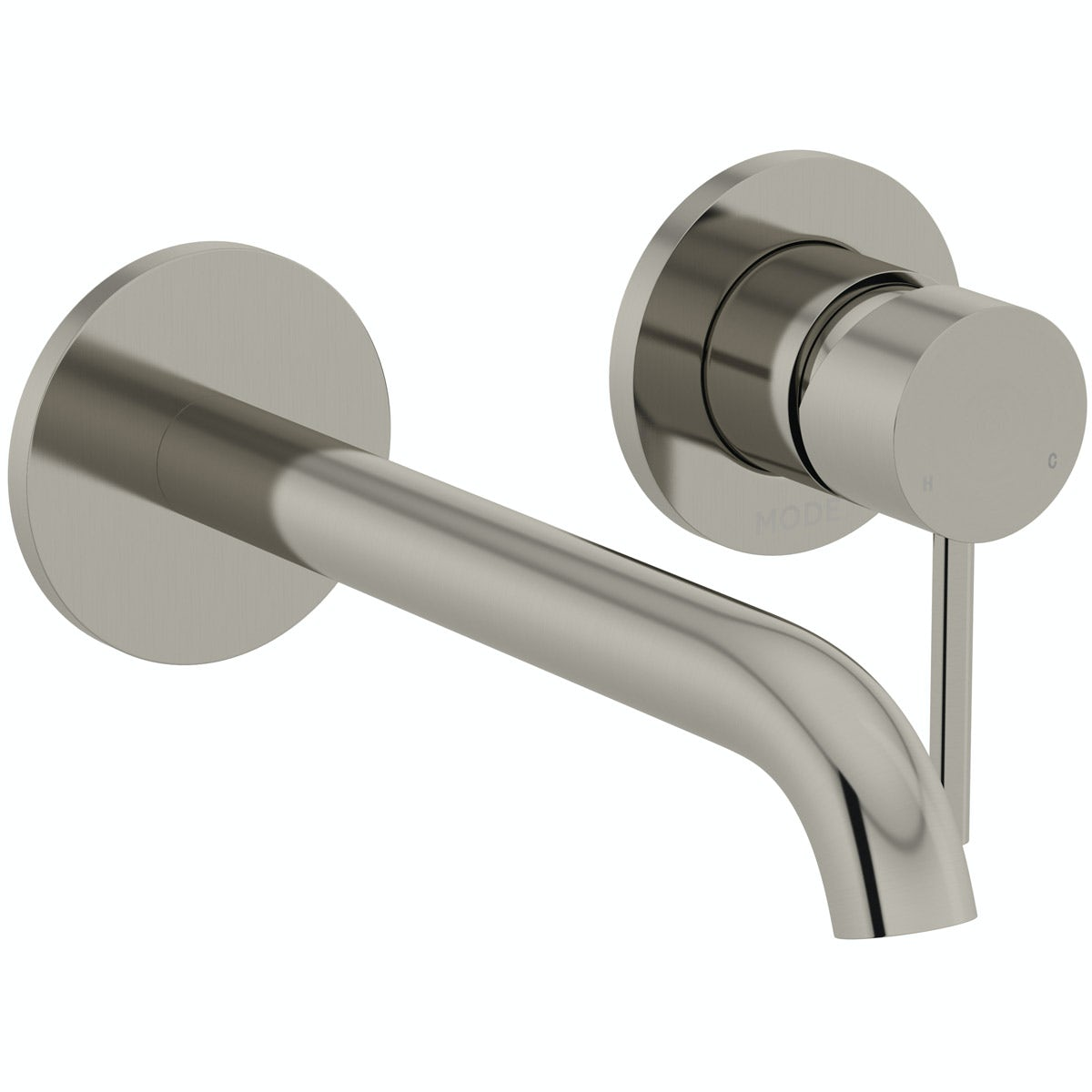 Mode Spencer round wall mounted brushed nickel bath mixer tap