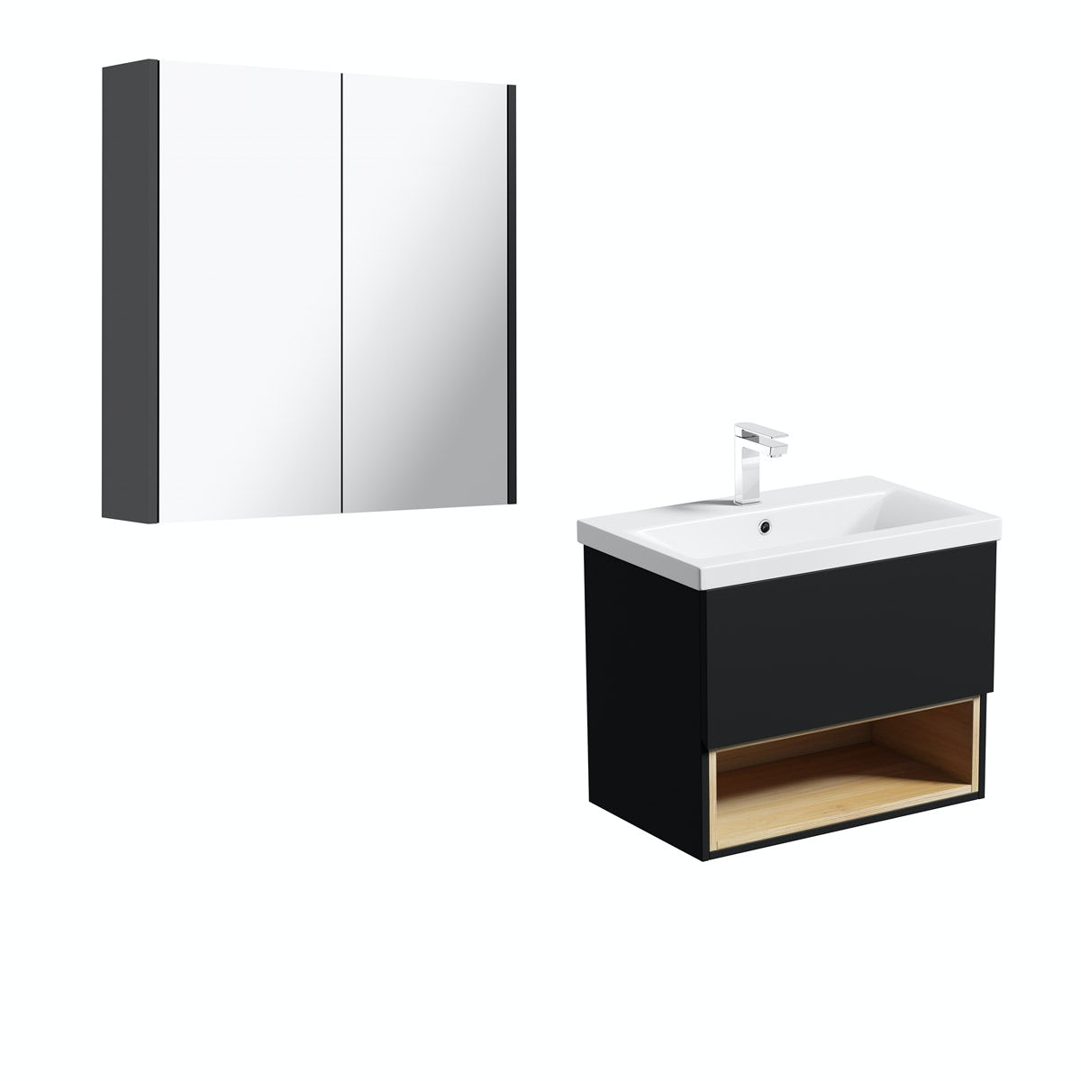 Mode Tate anthracite & oak wall hung vanity unit 600mm with mirror