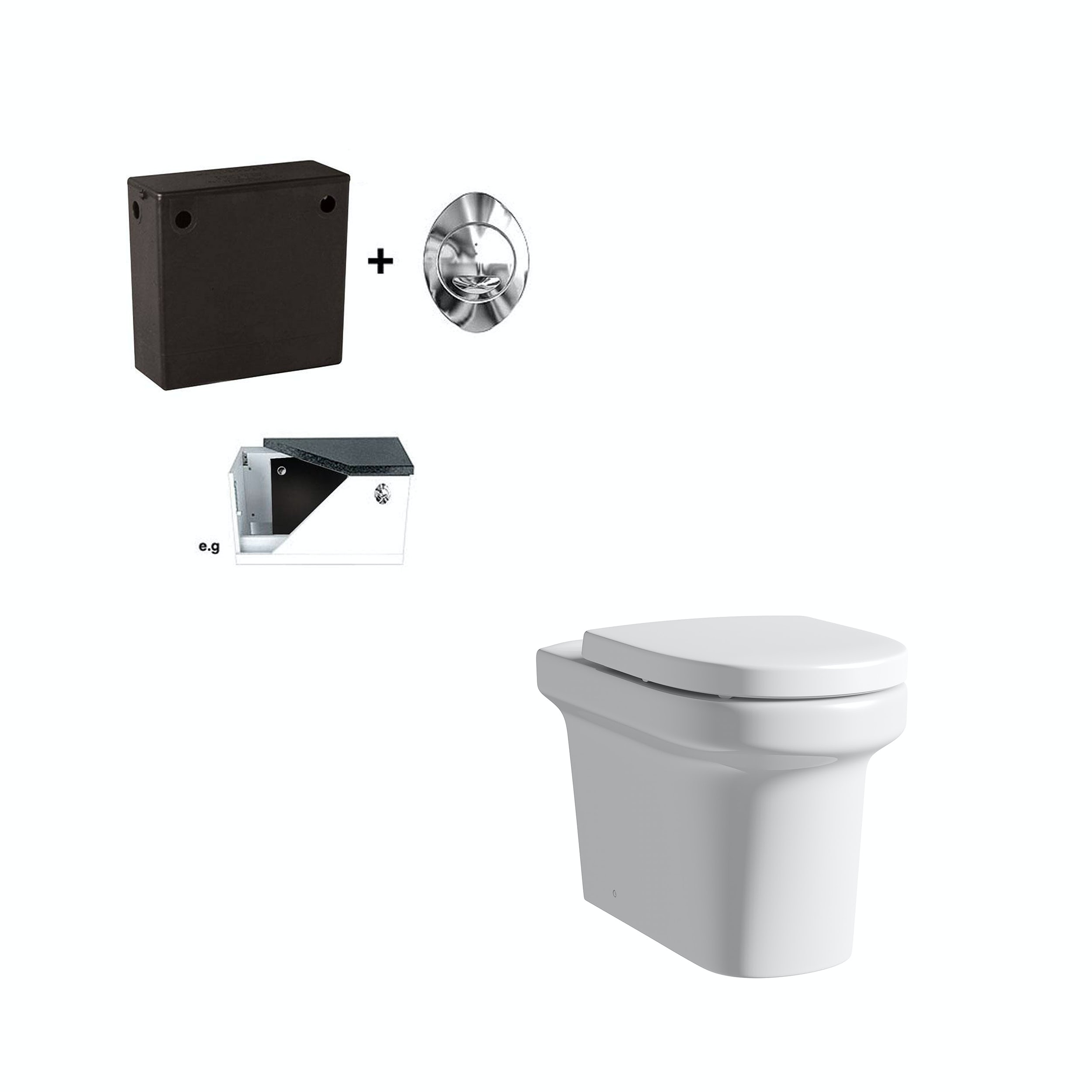 Mode Burton back to wall toilet with soft close seat and concealed cistern